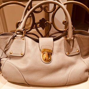 Prada light gray leather bag!!